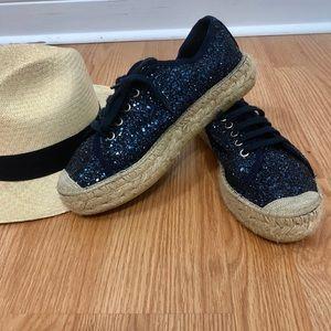 Shoes - Espadrilles handmade sparkling navy blue